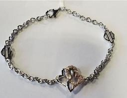 Harley-Davidson® Women's Bling Infinity Hearts Bracelet | White and Rose Gold Tone | Clear Crystal Embellished