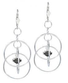 Harley-Davidson® Women's Multi-Hoop Dangling Earrings | Bar & Shield® Charms
