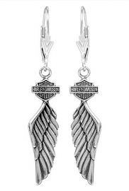 Harley-Davidson® Women's Winged Dangling Earrings | Bar & Shield®
