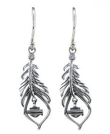 Harley-Davidson® Women's Large Boho Feather Earrings | Cubic Zirconia Accent
