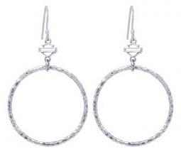 Harley-Davidson® Women's Hammered Hoop Earrings | Bar & Shield® On French Hook