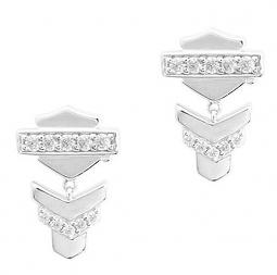 Harley-Davidson® Women's Chevron Drop Post Earrings | White Crystal Accents