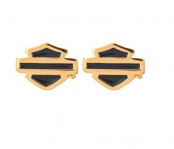 Harley-Davidson® Women's Gold Plated Bar & Shield® Post Earrings | Blue Enamel
