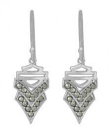 Harley-Davidson® Women's Chevron Marcasite Drop Earrings | Bar & Shield®