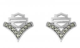 Harley-Davidson® Women's Chevron Marcasite Post Earrings | Bar & Shield®