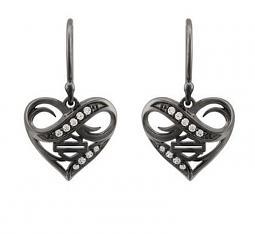 Harley-Davidson® Women's Ruthenium Infinity Thorn Heart Drop Earrings | Rhinestone Embellished