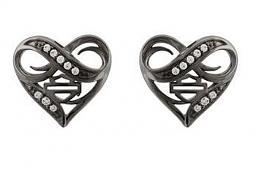 Harley-Davidson® Women's Ruthenium Infinity Thorn Heart Post Earrings | Rhinestone Embellished