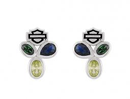 Harley-Davidson® Women's Stone Trio Earrings | Blue/Green/Citrine Stones