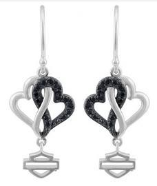 Harley-Davidson® Women's Black & White Infinity Hearts Drop Earrings | Black Crystal Embellished