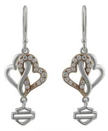 Harley-Davidson® Women's Bling Infinity Hearts Drop Earrings | White and Rose Gold Tone | Clear Crystal Embellished