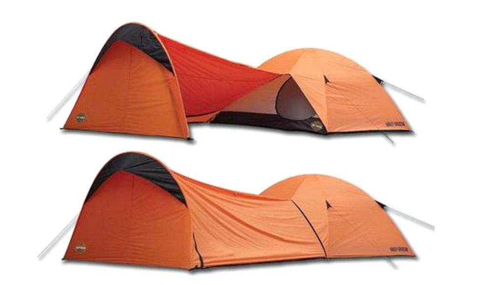 Harley-Davidson® Riders' Orange Dome Tent | with Bike Storage Vestibule | Sleeps Up To 4