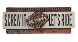Harley-Davidson® Screw It Let's Ride Metal Sign | 3-D Graphic Construction