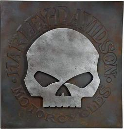 Harley-Davidson® Distressed Skull Metal Wall Art | Willie G® Skull Graphic