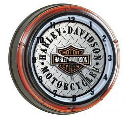 Harley-Davidson® Bar & Shield® Neon Clock | Diamond-Plate Pattern Face | Two Neon Sources