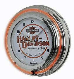 Harley-Davidson® Double Neon Wall Clock | Long Bar & Shield® Trademark Logo