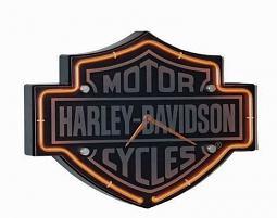 Harley-Davidson® Etched Bar & Shield® Orange Neon Clock