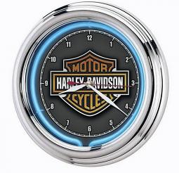 Harley-Davidson® Essential Bar & Shield® Neon Clock | Blue