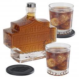 Harley-Davidson® Bar & Shield® 5-Pc Decanter Set | 2 Coasters | 2 Glasses | 1 Decanter
