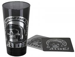 Harley-Davidson® Skull Rider Tall Glass Set | Set Includes One Glass & Two Coasters