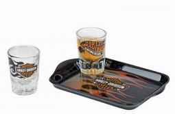 Harley-Davidson® Flames Shot Glass Set | Set Includes 2 Shot Glasses & Tray