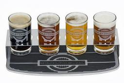 Harley-Davidson® Rider Tasting Flight Board | Includes 4 Glasses | Bar Mat