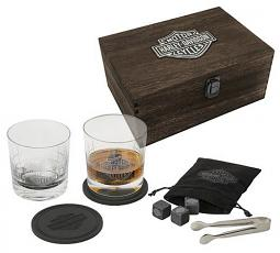Harley-Davidson® Premium Whiskey Glass Gift Set | Includes Wooden Storage Box