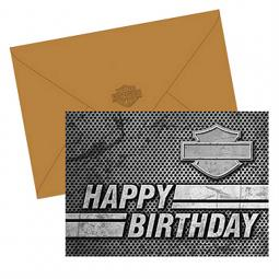 Harley-Davidson® Silhouette Bar & Shield® Birthday Cards | Boxed Set of 12 | Blank Inside