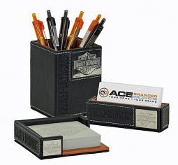 Harley-Davidson® Bar & Shield® Faux Leather Desk Accessory Set | 3-Piece Set