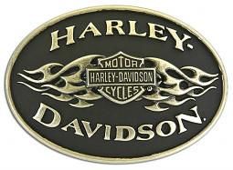 Harley-Davidson® Men's Black Flame Belt Buckle | Bar & Shield® | Brushed Chrome