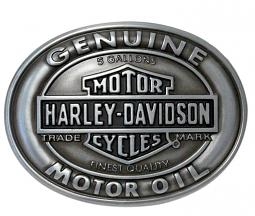 Harley-Davidson® Men's Genuine Motor Oil Belt Buckle | Antique Silver Tone