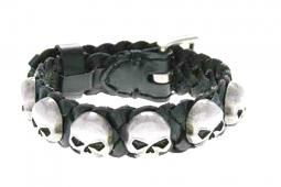 Harley-Davidson® Men's Muerto Leather Cuff | Repeated Skull Medallions | Antique Nickel Finish
