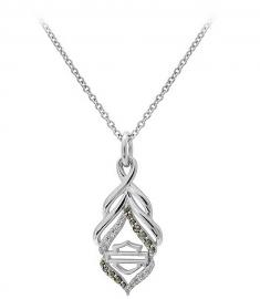 Harley-Davidson® Women's Salt & Pepper Twist Necklace | Cubic Zirconia