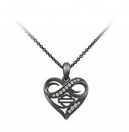 Harley-Davidson® Women's Ruthenium Infinity Thorn Heart Necklace | Rhinestone Embellished
