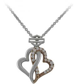 Harley-Davidson® Women's Bling Infinity Hearts Necklace | White and Rose Gold Tone | Clear Crystal Embellished