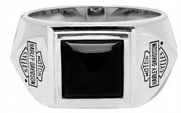 Harley-Davidson® Men's Square Black Onyx Ring