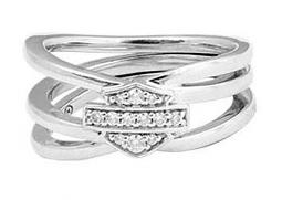 Harley-Davidson® Women's Twisted Bling Bar & Shield® Ring | Rhinestone Embellished