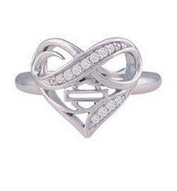 Harley-Davidson® Women's Infinity Thorn Heart Ring | Rhinestone Embellished