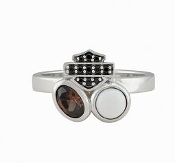 Harley-Davidson® Women's Two-Stone Cluster Ring | Brown & White Stones