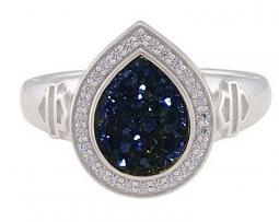 Harley-Davidson® Women's Teardrop Blue Drusy Ring