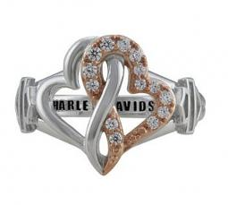 Harley-Davidson® Women's Bling Infinity Hearts Ring | White and Rose Gold Tone | Clear Crystal Embellished