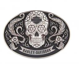 Harley-Davidson® Women's Vida Skull Belt Buckle | Polished Silver Tone