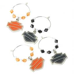 Harley-Davidson® Bar & Shield® Silhouette Wine Charms | Set of Four