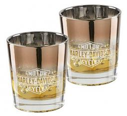 Harley-Davidson® Copper Ombré Double Old Fashioned Set | Two Glasses | Laser Etched