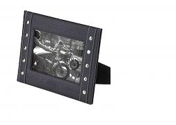 "Harley-Davidson® Faux Leather Picture Frame | Embossed Bar & Shield® With Flames | 4"" x 6"" Photo"