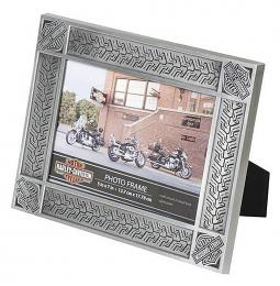 "Harley-Davidson® Tire Tread Picture Frame | Tin Plated | 5"" x 7"" Photo"