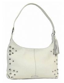 Harley-Davidson® Women's Heavy Metal Hobo Handbag | Cream | Dome Stud Embellishments