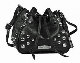 Harley-Davidson® Women's Heavy Metal Drawstring Crossbody | Black | Adjustable Strap | Dome Stud Embellishments