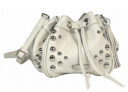 Harley-Davidson® Women's Heavy Metal Drawstring Crossbody | Cream | Adjustable Strap | Dome Stud Embellishments