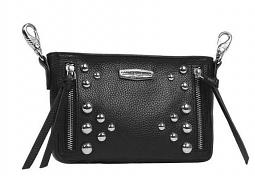 Harley-Davidson® Women's Heavy Metal Hip Bag | Black | Detachable Strap | Dome Stud Embellishments