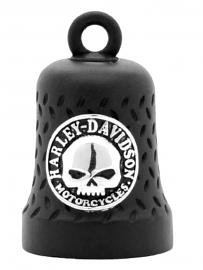 Harley-Davidson® Willie G® Skull Ride Bell | Matte Black | Embossed Diamond-Plated Background